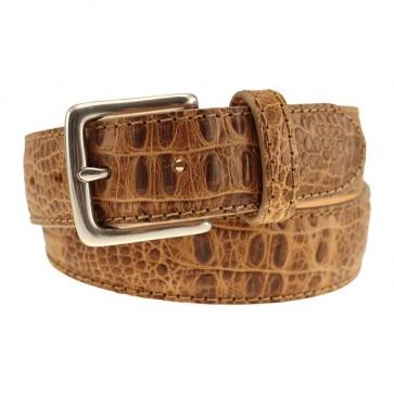 Khaki Alligator Grain Leather Dress Belt