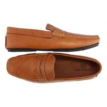 Tan Bison Leather Sundance Driving Shoe
